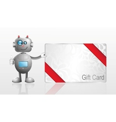 Cartoon robot with gift card vector