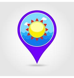 Sun pin map icon summer vacation vector