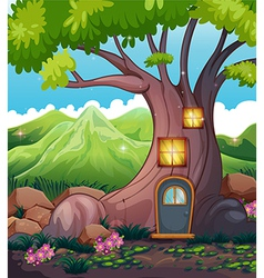 A tree house in the middle of the forest vector