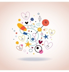 Abstract art with cute hearts vector