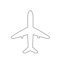 Airplane sign black dotted vector
