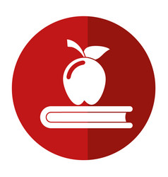 Apple book school symbol shadow vector