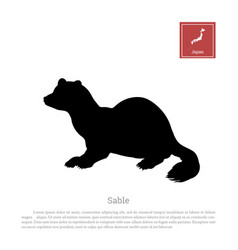 Black silhouette of a japanese sable vector