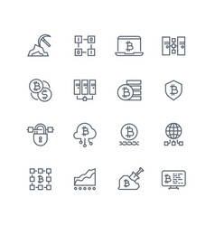 blockchain and cryptocurrency line icons vector image