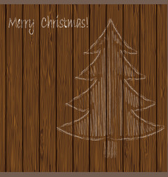 christmas tree drawing chalk on a background of vector image