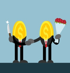 coin money shake hand hide knife give flower vector image