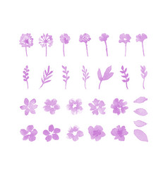Decorative flower watercolor design elements vector