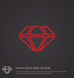 diamond outline symbol red on dark background logo vector image