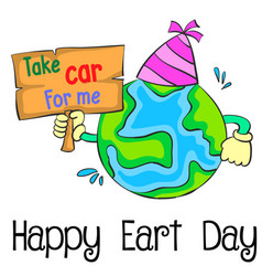 Earth day cartoon style design vector