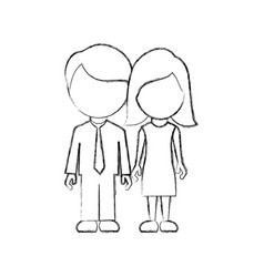 figure couple sticker icon vector image
