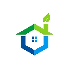 green home eco logo vector image