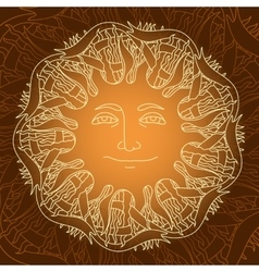 Hand drawn mandala with sun ribbon on vector