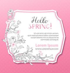 Hello spring card template vector