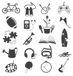 Hobby icons isolated on white background vector