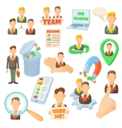 Human resource icons set cartoon style vector image vector image