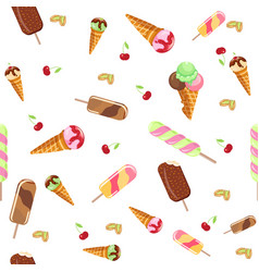 ice cream sweet dessert seamless pattern cold food vector image
