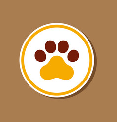 Paper sticker on stylish background dog trail vector