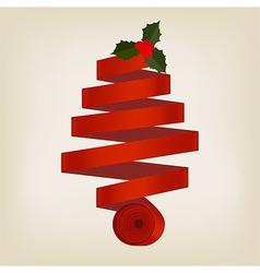 Red ribbon Christmas tree vector image vector image