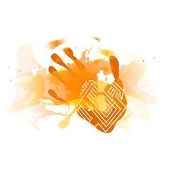 red splatter handprint vector image