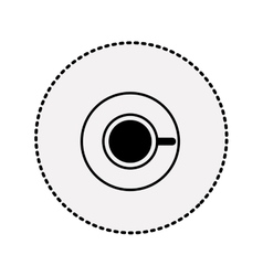 Sticker silhouette coffee cup top view drink icon vector