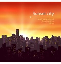 Sunset city landscape vector image vector image