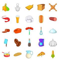 Table icons set cartoon style vector