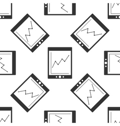 Tablet with business charts icon pattern vector image