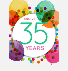 Template 35 years anniversary congratulations vector