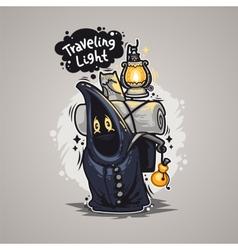 Traveling Light Cartoon Character vector image