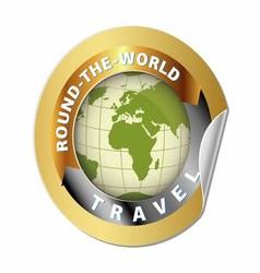 World travel round globe label vector