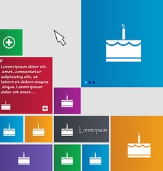 Birthday cake icon sign buttons modern interface vector