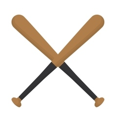 baseball crossed bats wooden design vector image
