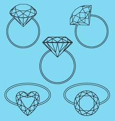 Diamond rings set vector