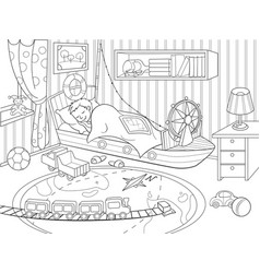 Kids coloring on the theme of childhood room vector