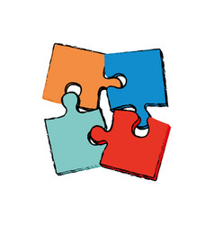puzzle pieces together vector image