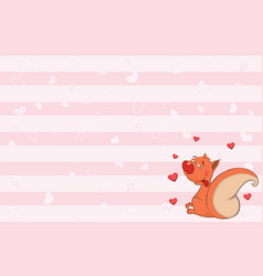 Valentines card with cute squirrel vector