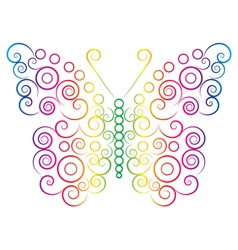 rainbow color butterfly vector image