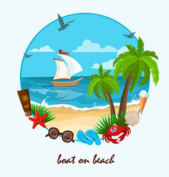 boat on beach vector image