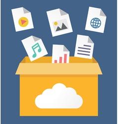 File storage in cloud vector image