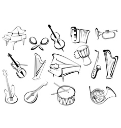 Musical instruments icons in sketch style vector