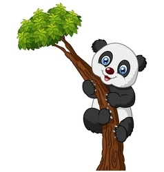 Cute panda cartoon climbing tree vector image