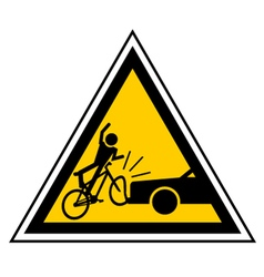 Bicycle accident sign vector