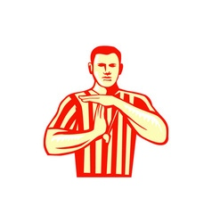 Basketball referee technical foul retro vector