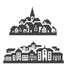 City town icons set signs and symbols vector