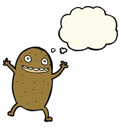 Cartoon happy potato with thought bubble vector