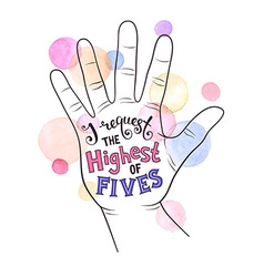 High five lettering vector