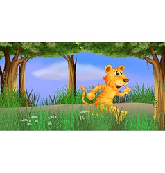 A tiger running in the forest vector
