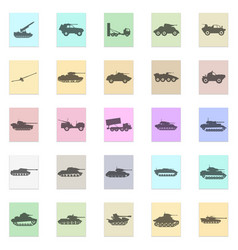 army transport set black icon on color vector image vector image