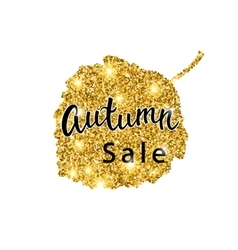 Autumn sale brush lettering gold glitter banner vector