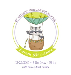 Baby shower card - baby racoon and air balloon vector